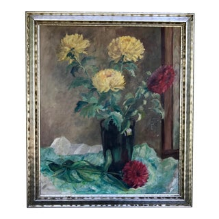 Mid Century Floral Still Life Oil on Canvas Painting For Sale