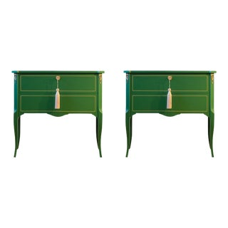 1950s Classic Louis XV Style Green Chests - a Pair For Sale