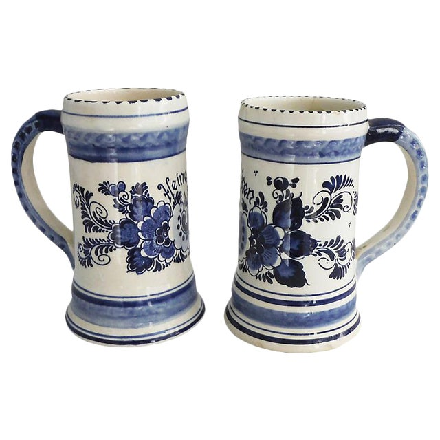 Pair of Vintage Delf Blue & White Steins - Image 1 of 2