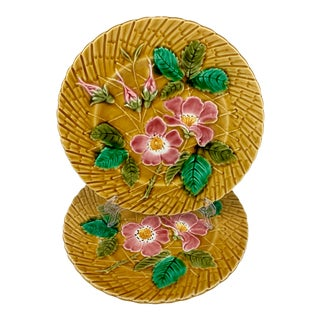 Sarreguemines Wild Roses Mustard Yellow French Faïence Majolica Plate For Sale