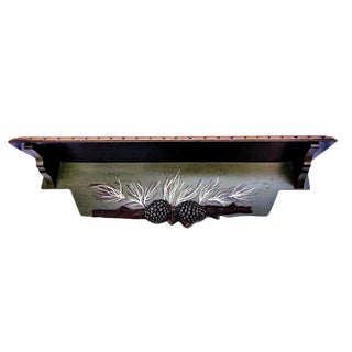 1990s Hand Painted Black Forest Pine Cone Themed Wooden Wall Shelf For Sale