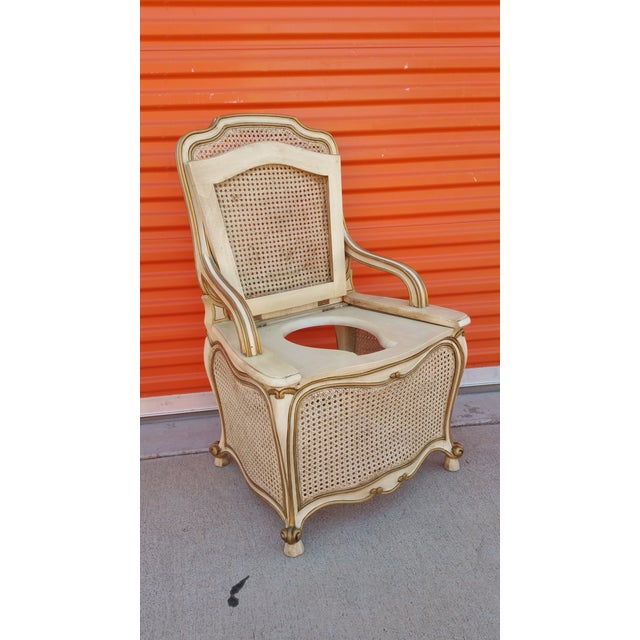 French Country French Provincial Commode Chair For Sale - Image 3 of 5