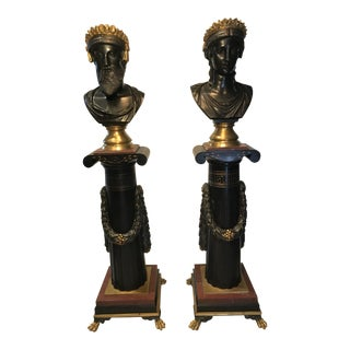 Museum Quality Bronze, Gilt and Rouge Marble Sculptures by Emile Hebert and Georges Servant. Signed G & S Médaille D'Or, 1867. Mid 19th Century For Sale