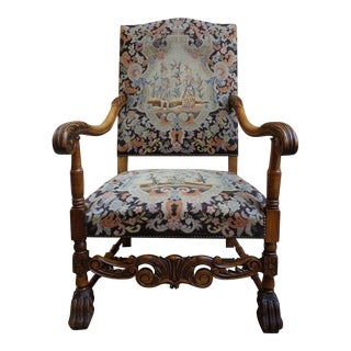 Antique French Carved Oak Fireside Throne Arm Chair Needlepoint Renaissance