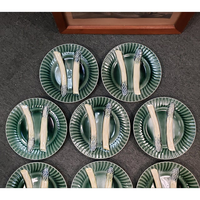 Up for sale is a Set of 10 Circa 1890 French Creil et Montereau Barbotine Majolica Porcelain Fluted Asparagus Plates! They...