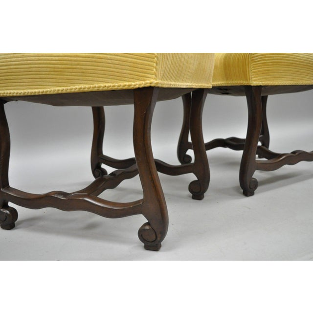 Yellow Early 20th Century Walnut Os De Mouton Louis XIV French Style Upholstered Dining Chairs- Set of 10 For Sale - Image 8 of 12