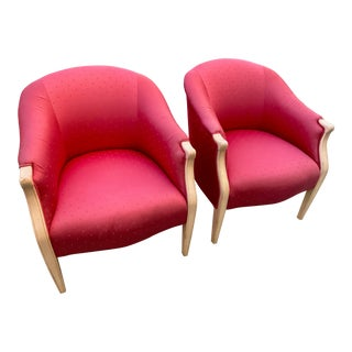 Mid Century Modern Hollywood Regency Barrel Back Club Chairs- A Pair For Sale