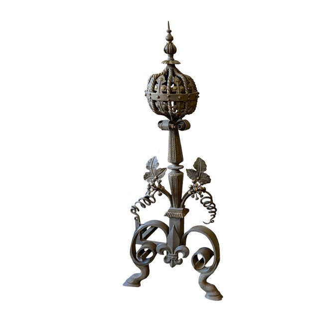 French 19th Century French Wrought Iron and Bronze Andirons - a Pair For Sale - Image 3 of 5