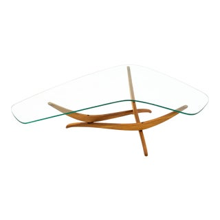 Forest Wilson Mid Century Glass Top Coffee Table For Sale