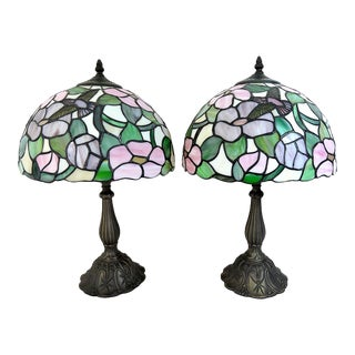 The Lily Pond & Kingfisher Stained Glass Tiffany Style Green and Pink Floral Table Lamps - a Pair For Sale