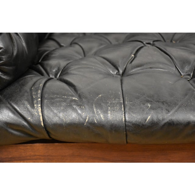 Tufted Leather Lounge Chairs - a Pair - Image 10 of 10