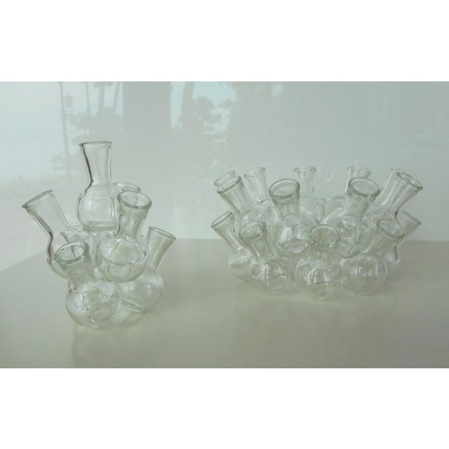 Vintage Clear Glass Stacked Cluster Bud Vase - 2 Pieces For Sale - Image 4 of 6