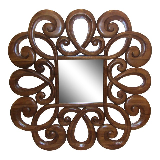 Wood Scroll Design Mirror - Image 1 of 4