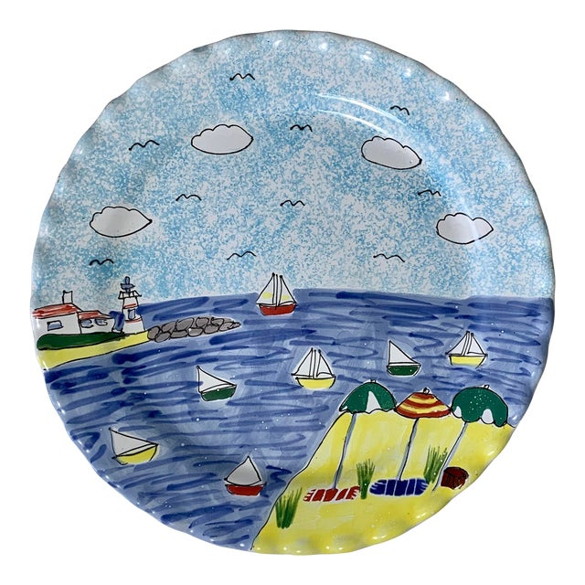 Hand Painted Scalloped Edge Nautical Cake Platter For Sale