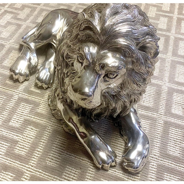 Realism Italian Sterling Silver Lion Sculpture For Sale - Image 3 of 8