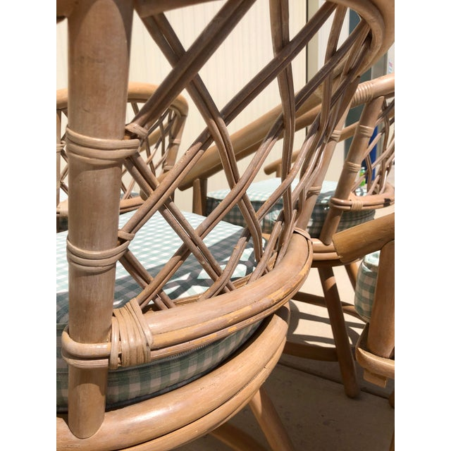 Ficks Reed Natural Rattan Swivel Chairs - Set of 4 For Sale - Image 9 of 13