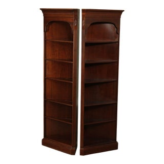 Ethan Allen Georgian Court Collection Pair Corner Open Bookcases For Sale