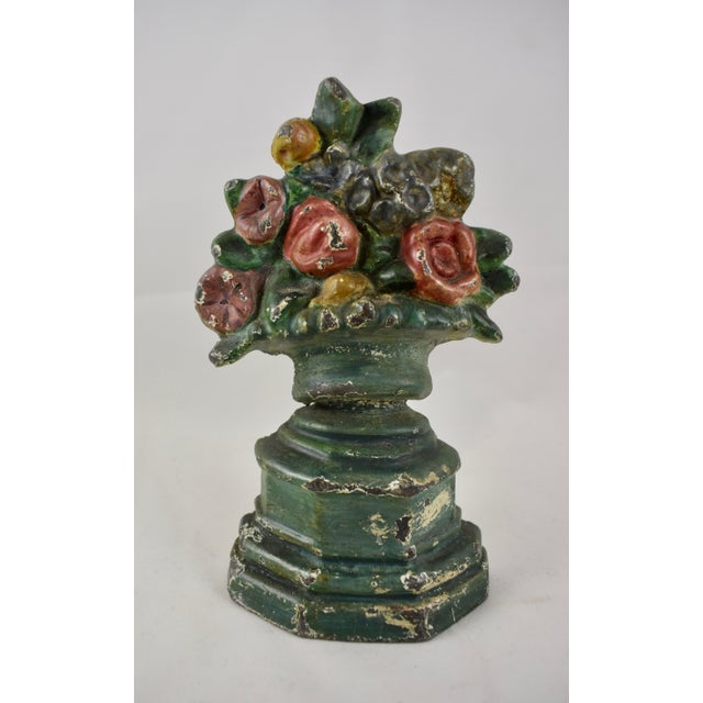 Red Hubley 1930s Cast Iron Petite Floral Green Urn Doorstop For Sale - Image 8 of 10