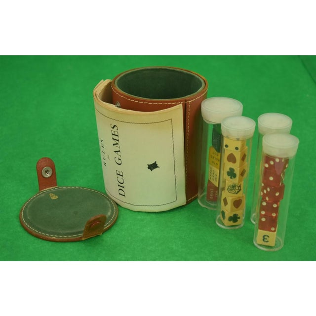 Brown Mark Cross Tube Dice Gaming Set in Leather Case For Sale - Image 8 of 12