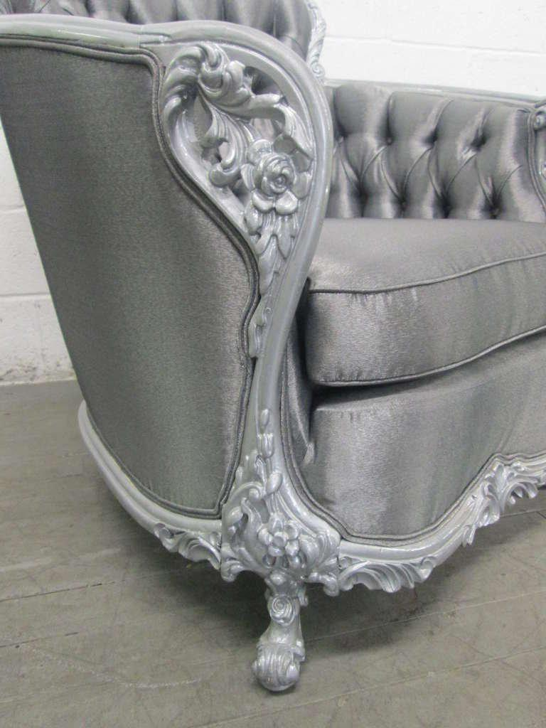 Carved Rococo Style Silver Tufted Chair For Sale In New York   Image 6 Of 7
