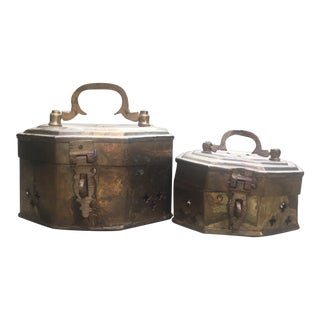 Vintage Brass Cricket Boxes - Set of 2