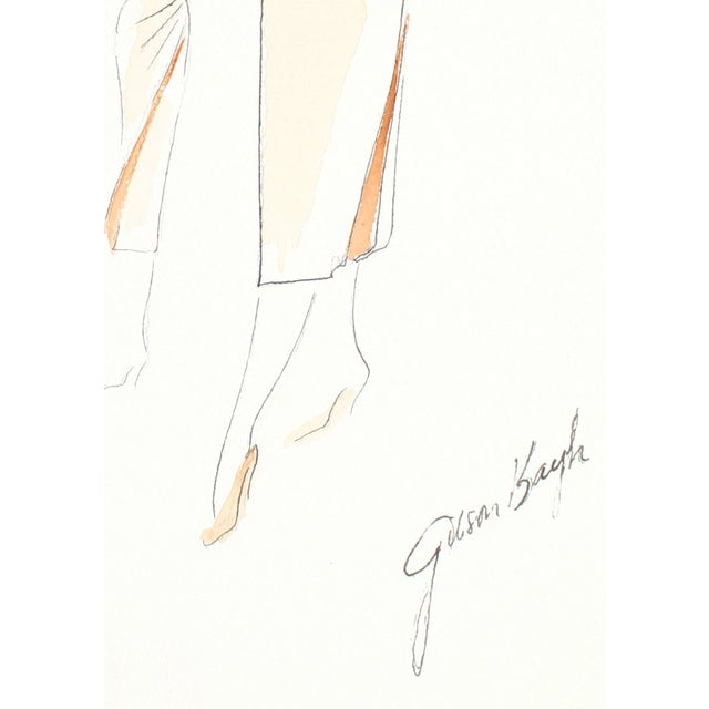 This 1950s gouache and ink on paper is by San Francisco Gump's custom fashion designer Frederick Gibson Bayh (1917-2007)....