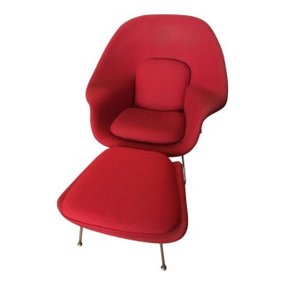 Knoll Eero Saarinen Mid-Century Modern Red Womb Chair & Ottoman