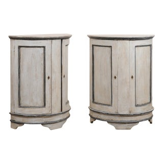 European Painted Wood Demilune 2-Door Cabinets in Gray - a Pair For Sale