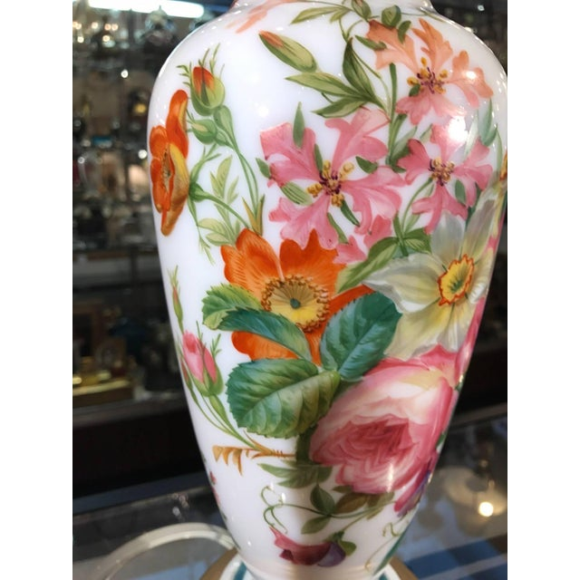 Belle Epoque 1840s French Opaline Enamel Painted Vase Lamp For Sale - Image 3 of 9