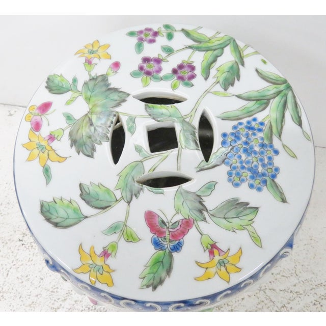 Chinese Floral Garden Stools - A Pair For Sale - Image 4 of 5