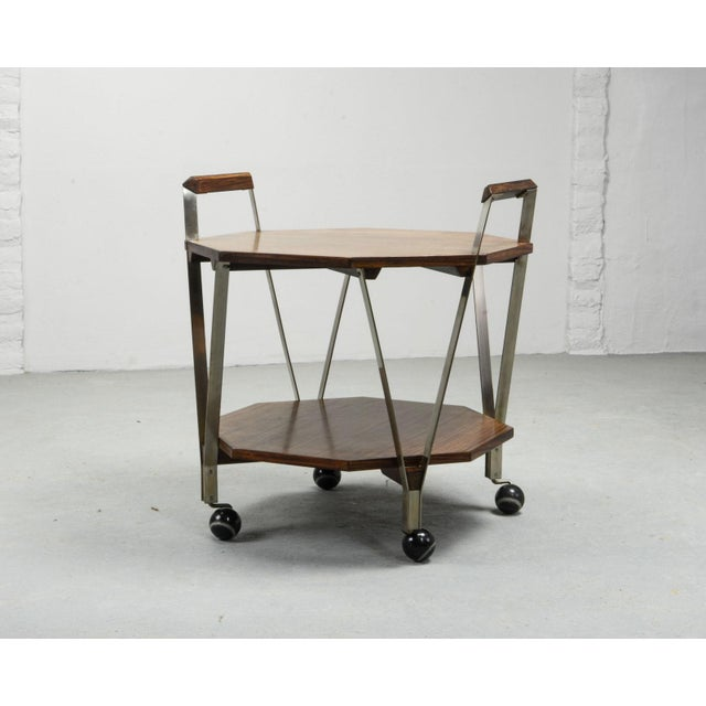 Octagonal serving trolley by Ico Parisi for Stildomus Milan. Italy, 1959. Stainless Steel base. Walnut handles and veneer...