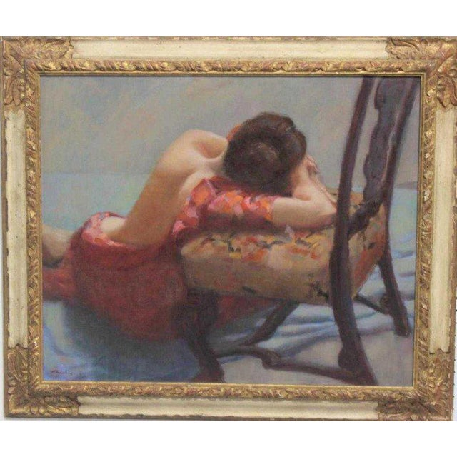 """American Oil on Canvas """"Repose"""" Signed J. Fairclough '61 For Sale In West Palm - Image 6 of 7"""