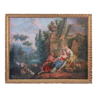 19th Century French Oil on Canvas Courtside Painting in the Style of Fragonard For Sale