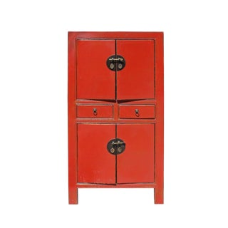 Chinese Distressed Rustic Orange Red Two Shelves Storage Cabinet