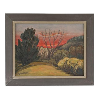 1950s Vintage Oil Painting Sunset Desert Scene by Ethel Showalter For Sale