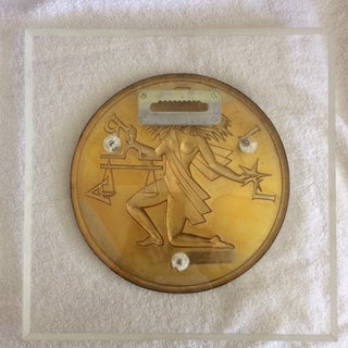 Vintage Gilroy Roberts .999 Pure Silver Round Libra Astrology Sign on Lucite Wall Plaque Preview