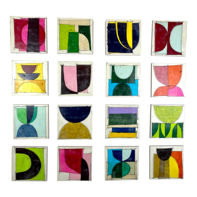 """""""Destination Anywhere"""" Contemporary Encaustic Mixed-Media Installation by Gina Cochran - 16 Panels For Sale"""