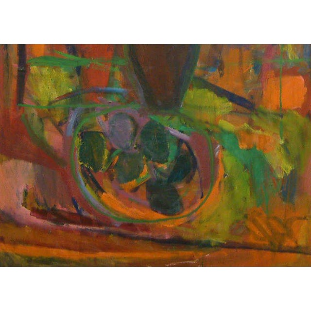 "Abstract 1960, David Alexick, ""Still Life"", Abstract, Orange, Blue, Lavender, Green, Yellow, Black, Oil on Canvas For Sale - Image 3 of 7"