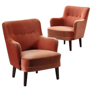 1940s Vintage Danish Modern Rose Armchairs - a Pair For Sale