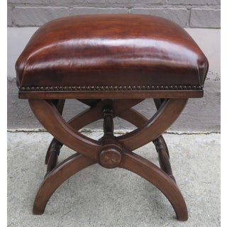 """English """"X"""" Shaped Leather Bench W/Adjustable Knobs Preview"""