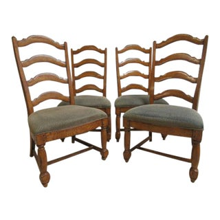 Thomasville Country Craftsman Rustic Dining Room Ladder Back Side Chairs - Set of 4 For Sale