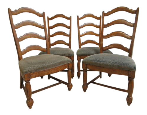 Thomasville Country Craftsman Rustic Dining Room Ladder Back Side Chairs    Set Of 4