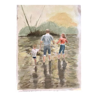 Family Watercolor Painting on Paper For Sale
