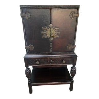 1920s Jacobean Brass Mounted Cabinet For Sale