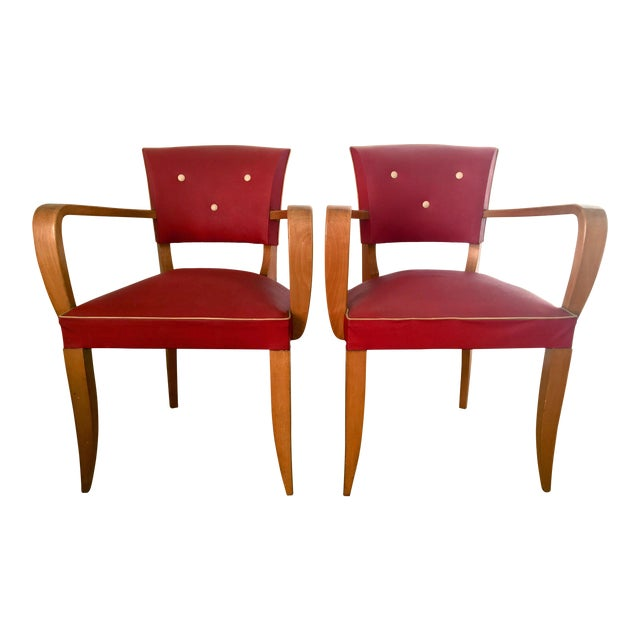 1940s Vintage French Art Deco Bridge Accent / Armchairs- a Pair For Sale
