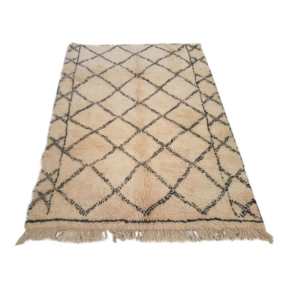 Vintage Moroccan Beni Ourain Area Rug - 5′5″ × 7′5″ - Image 1 of 5