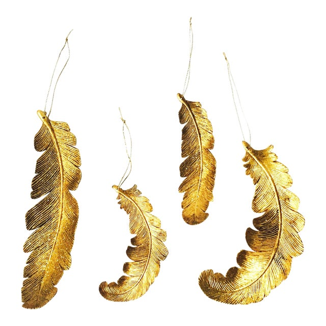 Vintage Gold Feather Ornaments - Set of 4 - Image 1 of 5