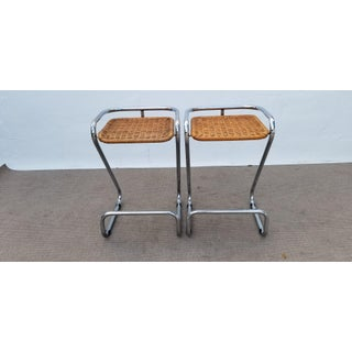 1970s Vintage Italian Mariani Attribute Sculptural Chrome and Woven Wicker Bar Stools- a Pair Preview