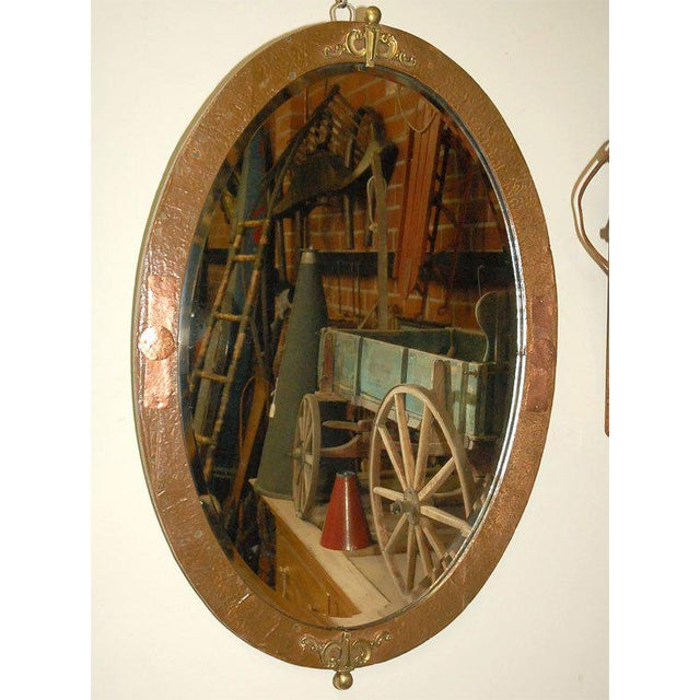 Oval Mirror in Copper and Brass Frame For Sale - Image 4 of 7