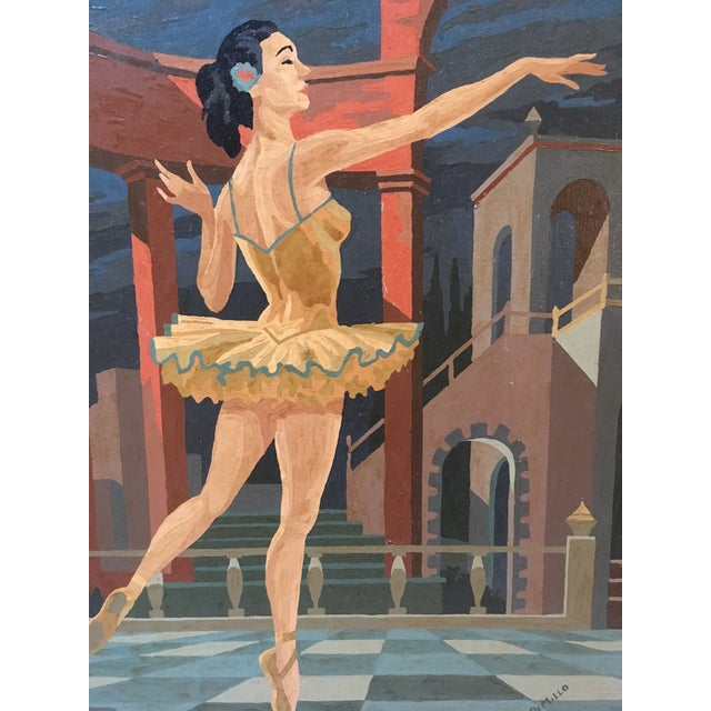 Art Deco Large Vintage Painting by Number Ballerina For Sale - Image 3 of 4